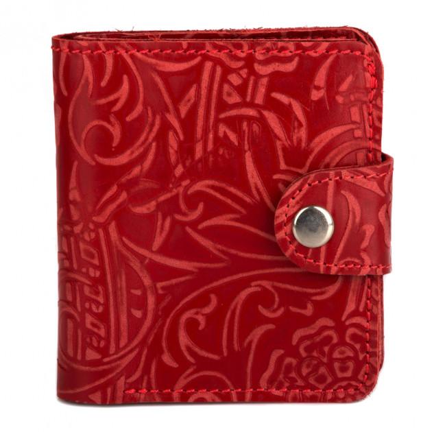 Удивительный кошелёк «KAFA» из мягкой красной кожи с цветочным рисунком купить. Цена 485 грн