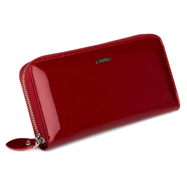 Отличный кошелёк «KAFA» на змейке из мягкой лаковой кожи красного цвета купить. Цена 599 грн