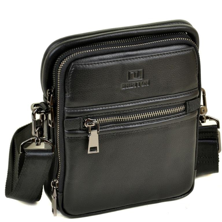 Безупречная мужская сумка «Bretton» без клапана из чёрной натуральной кожи купить. Цена 1799 грн