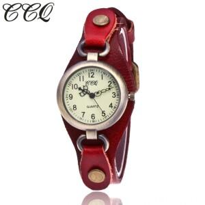 Винтажные часы «CCQ» с красным кожаным ремешком купить. Цена 375 грн