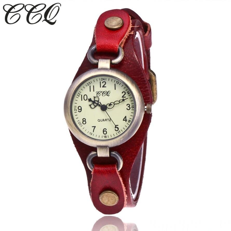 Винтажные часы «CCQ» с красным кожаным ремешком купить. Цена 390 грн