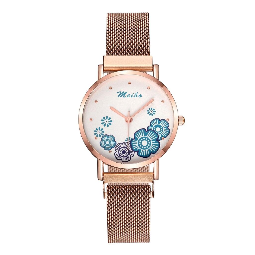 Нежные женские часы «Meibo» с цветочками на маленьком циферблате купить. Цена 365 грн
