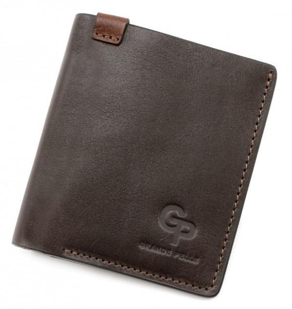 Стильный мужской бумажник «Grande Pelle» на магните из коричневой кожи купить. Цена 599 грн