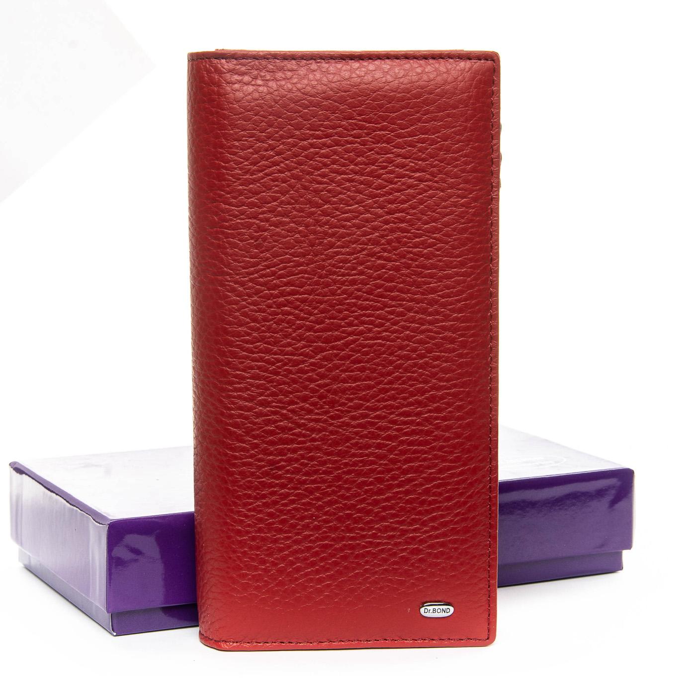 Тёмно-красный кошелёк-клатч «Dr.Bond» из качественной натуральной кожи купить. Цена 899 грн