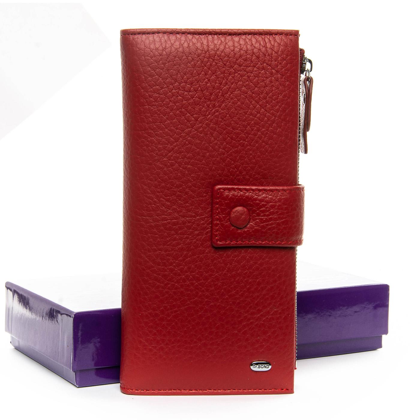 Функциональный женский кошелёк «Dr.Bond» из красной натуральной кожи купить. Цена 885 грн