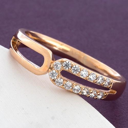 Красивое кольцо «Слияние» с бесцветными фианитами и качественной позолотой купить. Цена 155 грн