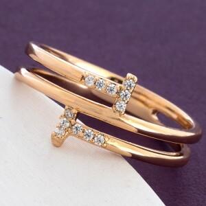 Модерновое кольцо «Трикси» с современным дизайном и позолотой купить. Цена 165 грн