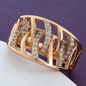 Широкое женское кольцо «Эстрелла» с фианитами и золотым покрытием купить. Цена 235 грн