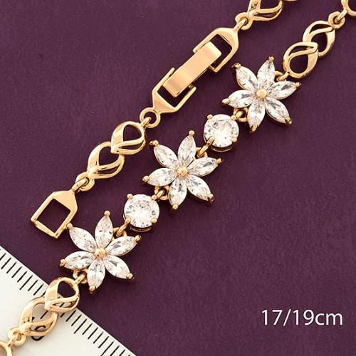 Очаровательный браслет «Астры» с цветами из камней в позолоченной оправе купить. Цена 299 грн