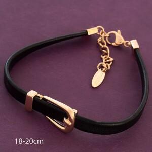 Чёрный браслет «Пряжка Hermes» из экокожи и позолоты фото. Купить