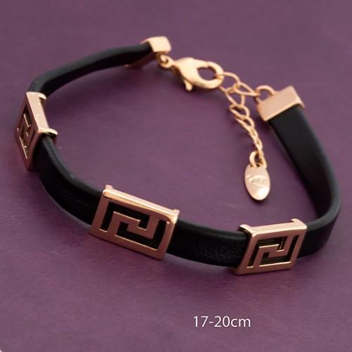Чёрный браслет-ремешок «Карфа» с позолоченными фигурными вставками купить. Цена 275 грн