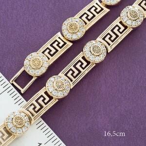 Благородный браслет «Наследие» с модной греческой дорожкой и золотым покрытием фото. Купить