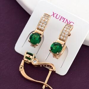 Милые серьги «Анжелика» с камнем изумрудного цвета в позолоченной оправе купить. Цена 165 грн