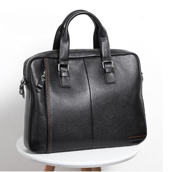 Мягкий мужской портфель «Realer» из натуральной зернистой кожи флотар чёрного цвета купить. Цена 2790 грн