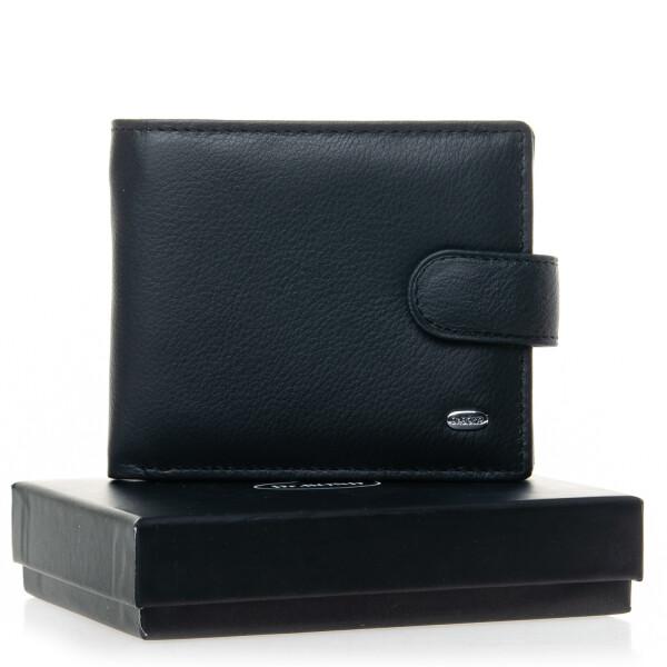 Традиционный бумажник «Dr.Bond» из чёрной гладкой натуральной кожи купить. Цена 590 грн