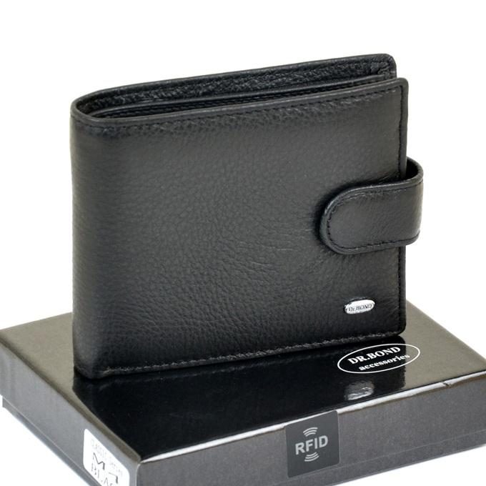Классический чёрный бумажник «Dr.Bond» из кожи с RFID-защитой купить. Цена 590 грн