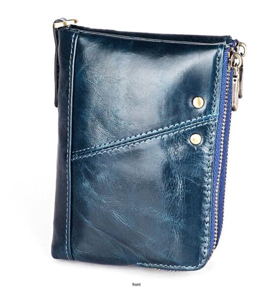 Синий мужской бумажник «Joyir» из глянцевой масляной кожи купить. Цена 699 грн