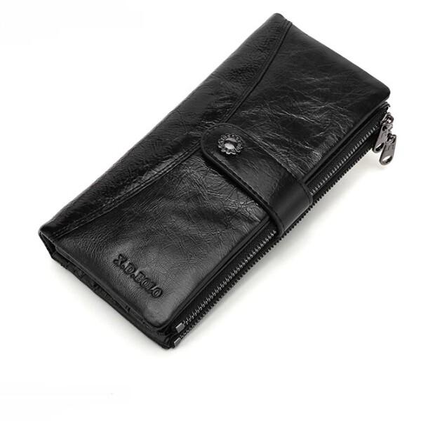 Солидный кошелёк «X.D.Bolo» из гладкой чёрной кожи с масляной пропиткой купить. Цена 998 грн