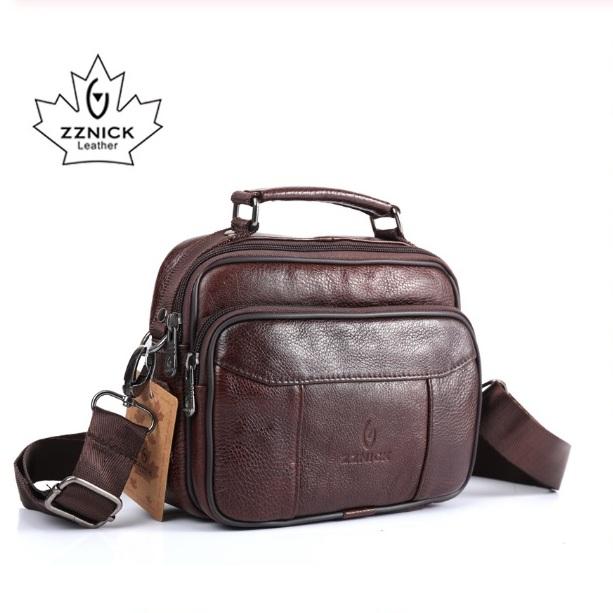 Удобная мужская сумка «ZZnick» небольшого размера из качественной коричневой кожи фото. Купить