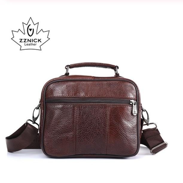 Удобная мужская сумка «ZZnick» небольшого размера из качественной коричневой кожи фото 1