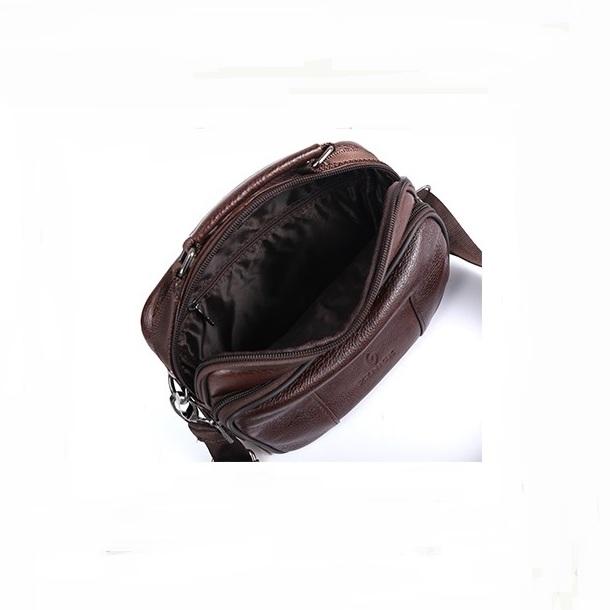 Удобная мужская сумка «ZZnick» небольшого размера из качественной коричневой кожи фото 2