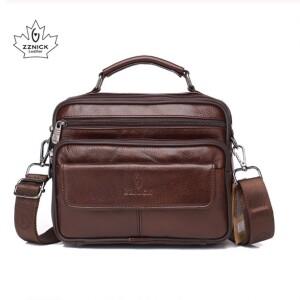 Отличная мужская сумка «ZZnick» коричневого цвета из мягкой натуральной кожи купить. Цена 970 грн