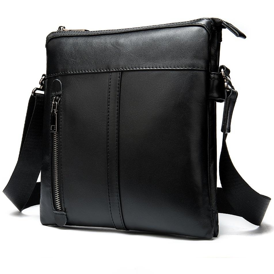 Отличная мужская сумка «Westal» без клапана из глянцевой чёрной кожи купить. Цена 1690 грн