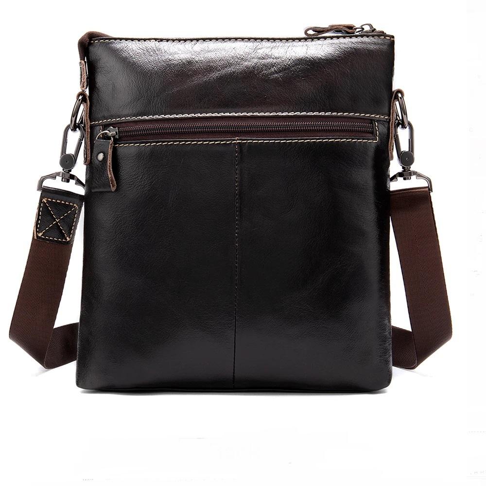 Мягкая мужская сумка «Westal» без клапана из глянцевой натуральной коричневой кожи фото 1