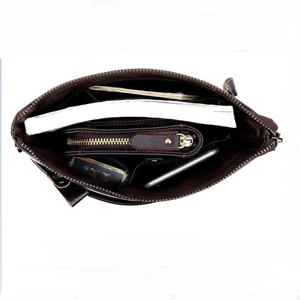 Мягкая мужская сумка «Westal» без клапана из глянцевой натуральной коричневой кожи фото 2