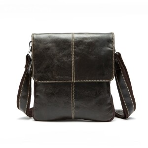 Винтажная мужская сумка «Westal» из плотной глянцевой кожи серо-коричневого цвета купить. Цена 1499 грн
