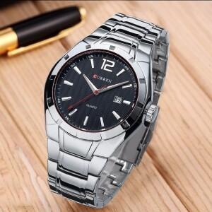 Солидные мужские часы «Curren» с чёрным циферблатом и металлическим браслетом купить. Цена 799 грн
