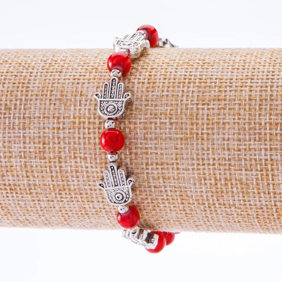 Браслет-оберег «Длань Фатимы» с красными бусинами купить. Цена 59 грн