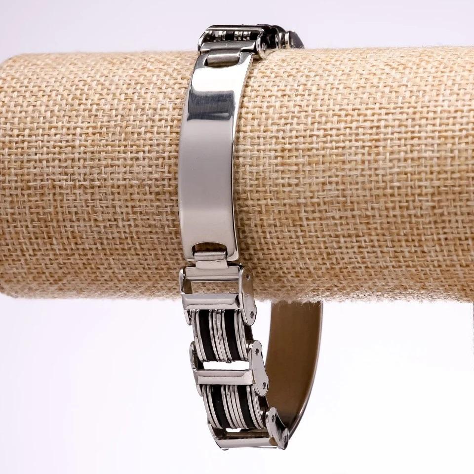 Комбинированный мужской браслет из стали-нержавейки и каучуковых пластин купить. Цена 225 грн