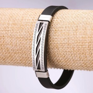 Отличный каучуковый браслет «Герастрат» с резной стальной вставкой фото. Купить