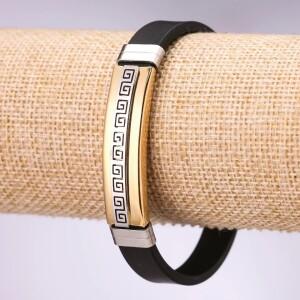 Красивый двухцветный браслет «Аргонавт» из силикона и нержавеющей стали купить. Цена 165 грн