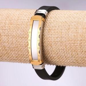 Стильный браслет «Defender» из каучука со вставками из нержавеющей стали купить. Цена 165 грн