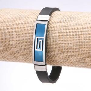 Силиконовый браслет «Альфа» со вставками из нержавеющей стали фото. Купить