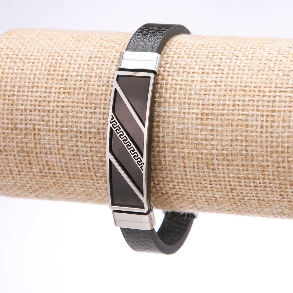Мужской браслет «Олимп» из экокожи с металлической вставкой купить. Цена 165 грн