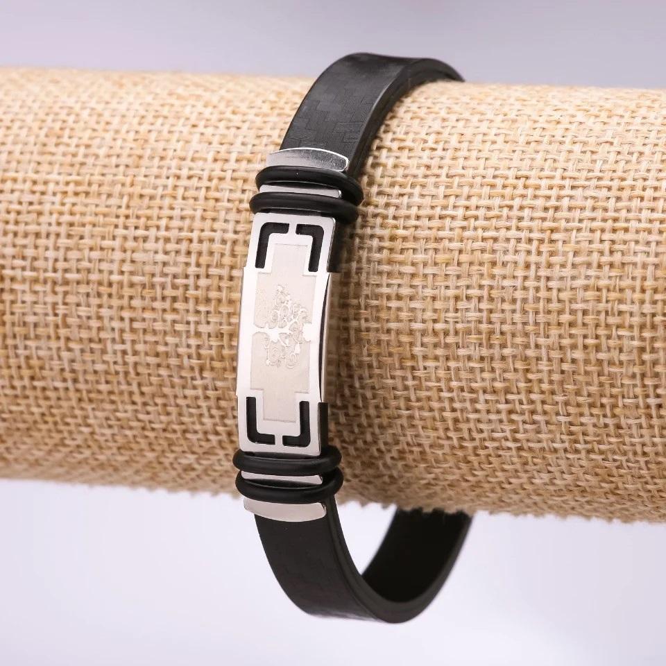 Силиконовый браслет с металлической пластиной с «Деревом Жизни» купить. Цена 165 грн
