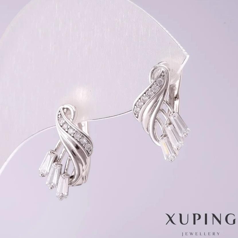 Ажурные серьги «Амелия в белом» с цирконами багетной огранки купить. Цена 165 грн