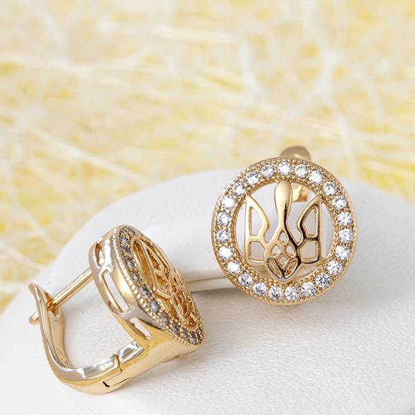 Небольшие серьги «Герб в алмазах» круглой формы с английской застёжкой купить. Цена 185 грн