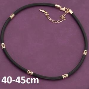 Каучуковый шнурок Xuping чёрного цвета с золотыми вставками купить. Цена 165 грн