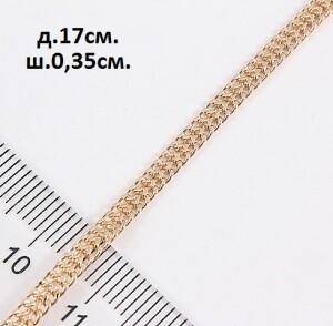 Тонкий браслет с очень красивым плетением и золотым покрытием фото. Купить