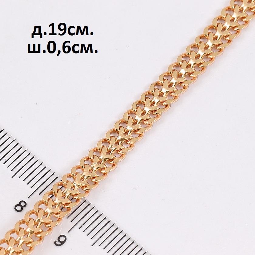 Повседневный браслет с двойным панцирным плетением и розовой позолотой купить. Цена 185 грн
