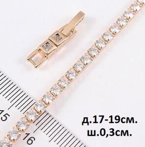 Недорогой браслет «Дорожка» с полосой из фианитов в позолоченной оправе купить. Цена 275 грн