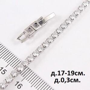 Грациозный браслет «Дорожка белая» с прозрачными цирконами и родиевым покрытием купить. Цена 275 грн