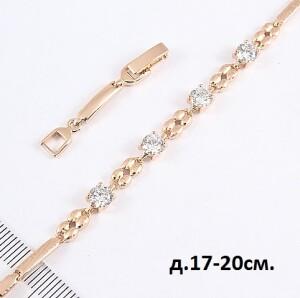 Лаконичный браслет «Велюр» с небольшими фианитами и качественной позолотой купить. Цена 245 грн