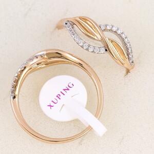 Изящное кольцо «Вальс» с мелкими фианитами и двухцветным покрытием купить. Цена 175 грн