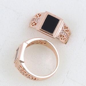 Аристократическое кольцо «Авторитет» с покрытием из розового золота купить. Цена 235 грн