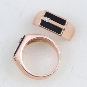 Солидный мужской перстень «Лидер» с покрытием из розового золота купить. Цена 210 грн
